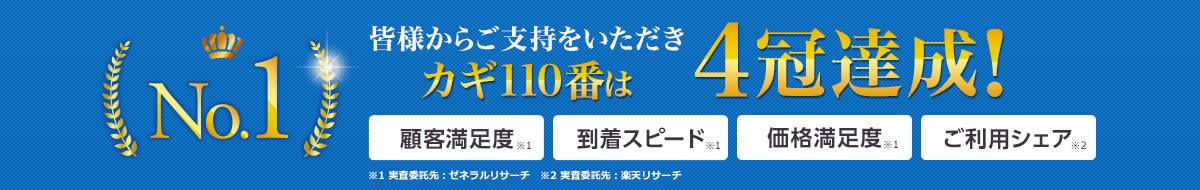 皆様からご支持をいただきカギ110番は3冠達成! 顧客満足度No.1 到着スピードNo.1 価格満足度No.1